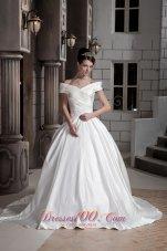Off The Shoulder Satin Princess Wedding Gown Court Train