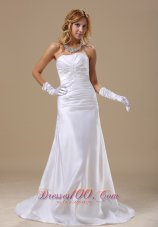 Ruched Appliques Strapless Bridal Dress Floor-length Brush Train
