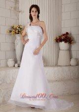 Straps Princess Wedding Dress Organza Court Train