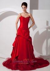 Red Strapless Court Train Wedding Dress Appliques Taffeta Organza