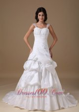 Straps Princess Taffeta Wedding Dress Court Train Appliques