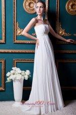 Strapless Chiffon Brush Train Wedding Gown Beading and Pleat