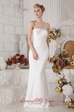 Ruched Chiffon Strapless Brush Train Wedding Bridal Dress Column