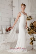 Chiffon One Shoulder Wedding Bridal Gown Beading Brush Train