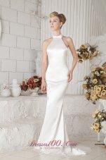 Low Cost Halter Top Brush Train Wedding Gown Taffeta Column
