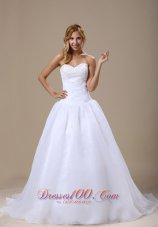 Sweetheart Beaded Ruched Organza Wedding Dress Court Train
