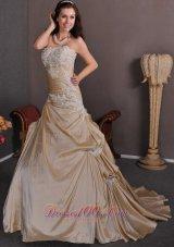 Strapless Champagne Wedding Gown Appliques Taffeta Chapel Train