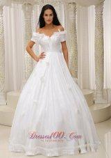 Ball Gown Off The Shoulder Wedding Dress Appliques Taffeta