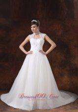 Organza High Neckline Bridal Dress With Appliques Decorate