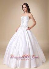 Sweetheart Ball Gown Beading Wedding Dress White Taffeta