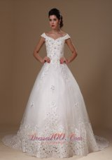 Appliques Tulle Off Shoulder Court Train Wedding Gown