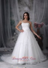 One Shoulder Beaded Bridal Dress Tulle Handle Flowers Watteau Train