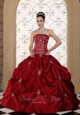Wine Red Strapless Bridal Gown Pick-ups Embroidery Taffeta