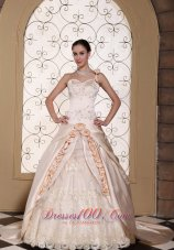 Champagne One Shoulder Bridal Dress Hand Made Flowers Embroidery