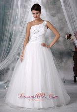 Beaded Decorate One Shoulder Wedding Dress Taffeta And Organza