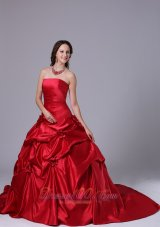 Strapless Wine Red Ball Gown Bridal Dress Court Train Pick-ups