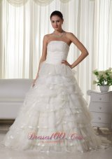 Strapless Wedding Bridal Dress Chapel Train Organza Appliques