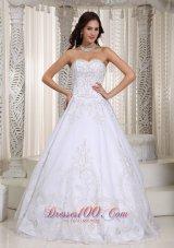 Sweetheart A-line Wedding Dress Organza Appliques Court Train