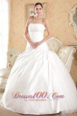 Strapless Tulle and Taffeta Bridal Dress Court Train Beading
