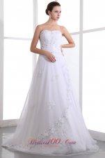 Taffeta and Organza Strapless Wedding Gown Beading Brush Train