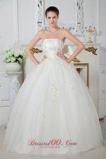 Floor-length Ball Gown Wedding Dress Tulle Beading Strapless