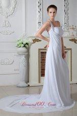 One Shoulder Chiffon Ruch Bridal Dress Court Train Beading