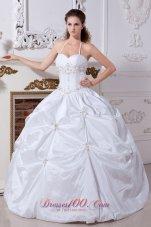 Halter Bridal Wedding Dress Taffeta Embroidery Floor-length