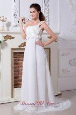 Wedding Dress One Shoulder Chiffon Court Train Hand Made Flowers