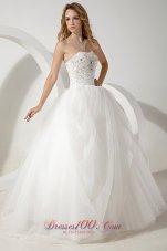 Strapless Tulle Ball Gown Wedding Dress Floor-length Beading