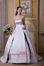 Ball Gown Strapless Embroidery Wedding Dress Chapel Train