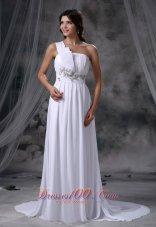 Beading One Shoulder Brush Train Chiffon Wedding Dress