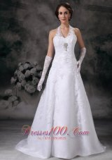 Applique A-line Halter Court Train Lace Beading Wedding Dress