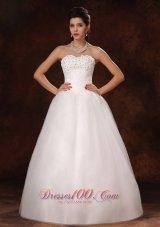 Unique Beaded A-Line Organza Customize Wedding Dress
