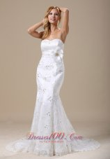 Mermaid Wedding Dress With Sash Applique and Lace Over Skirt