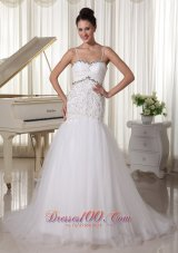 Unique Spaghetti Straps Bridal Gowns Mermaid Rhinestones