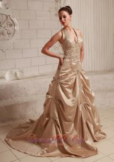 Customize Halter Champagne Dress Appliques Themed Wedding