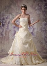 A-line Strapless Wedding Gowns Brush Train Flower