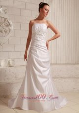 Low Cost Taffeta Appliques Outdoor Wedding Dress Court