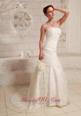 A-line Customize Lace Wedding Dress Taffeta Gangnam Style