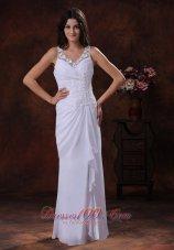 White Chiffon Beach Wedding Dress V Neck Appliques Ruffles