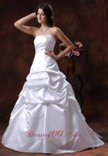 Strapless White A-line Wedding Dress Ball Gown for Cheap
