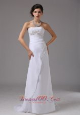 Embroidery Chiffon White Dress for Destination Wedding Sweep
