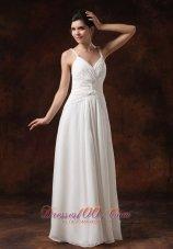 Spaghetti Straps Bridal Dress Chiffon Twist Floor-length
