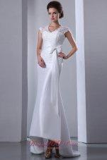 Fashionable High-low Lace Wedding Dress Appliques Bowknot Sash