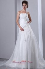 Hand Made Flowers Garden Wedding Gowns Tiered Appliques