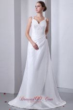 Classical A-line Straps Hall Wedding Dress Ruch Beading
