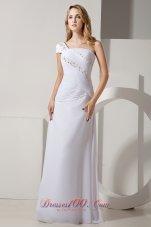 Column One Shoulder Cap Sleeve Beach Bridal Dress Chiffon