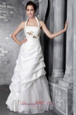 Princess Halter Appliques Wedding Gowns Floor-length Tiered