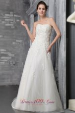 Gorgeous Appliques Beaded Bridal Dress Strapless Court Tulle