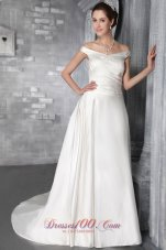 White Sheath Bridal Dress Rose Accents Off the Shoulder